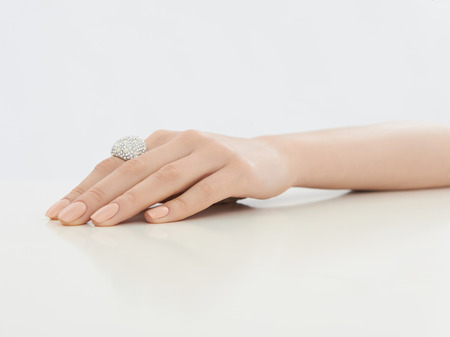 Beauty female hand with jewelry and manicure.elegance woman hand with ring