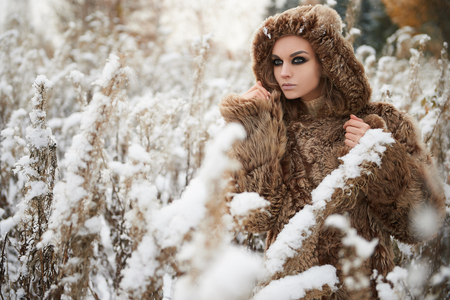 visone: fashion beauty outdoor portrait of young woman in fur. beautiful model girl in snow winter forest