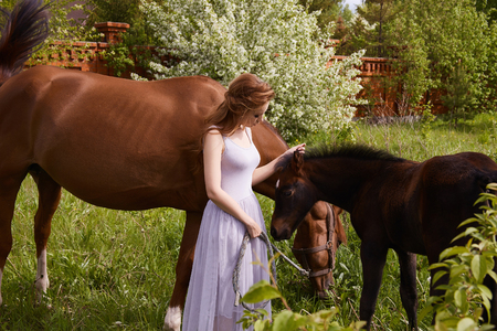 Beautiful woman with horses.beauty blond girl and horse
