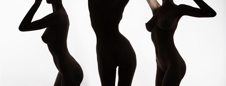 nude female bodies collage.perfect body woman silhouette
