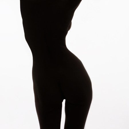 nude beautiful body woman.perfect body model girl silhouette Stock Photo