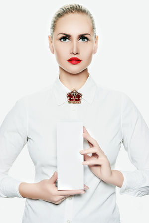 portrait of beautiful girl with red lips. fashion beauty young woman with gift box. isolate. jewelry