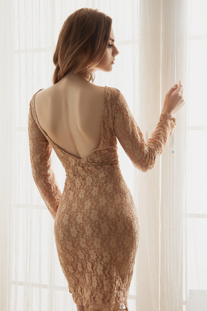 beautiful young woman dress stay near the window at home.beauty Elegant fashion glamour lifestyle photo in interior.sexy back of girl over daylight Stockfoto