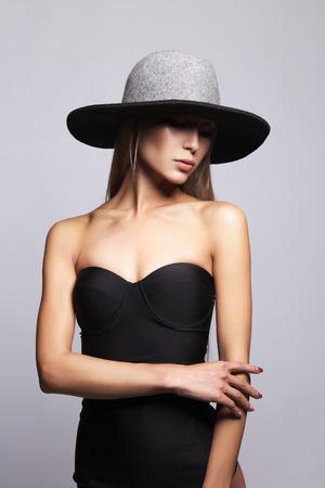 beautiful Young woman in hat and bikini. summer fashion girl