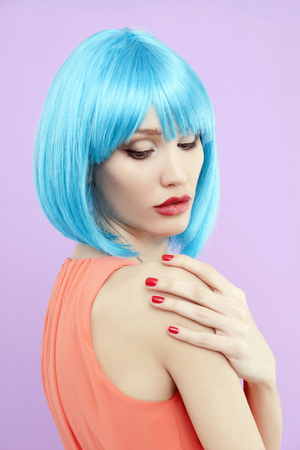 beautiful woman with Bob Colorful hair. beauty girl with Blue Hair Style and Make-up