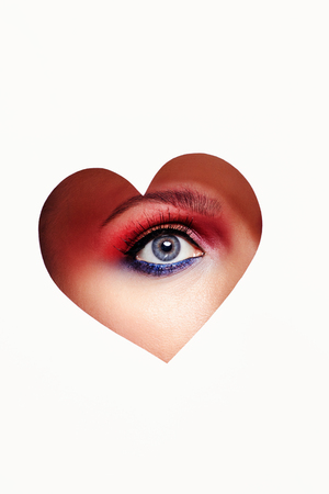 beautiful woman eye inside heart.beauty colorful male-up.love,Valentine's Day concept Stock Photo - 105515667