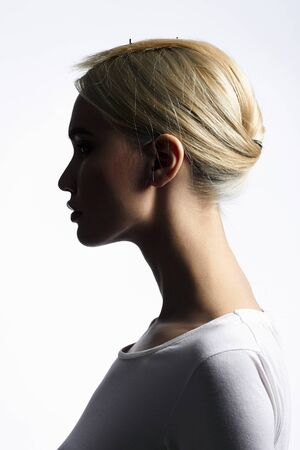 fashion beauty portrait of young woman silhouette. beautiful blond girl
