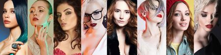 Different female faces. collage of beautiful women. beautiful girls with make-up and color Hair