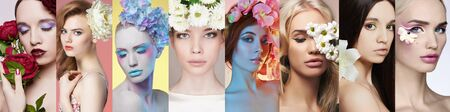 beauty collage of beautiful women with Flowers. beautiful girls with make-up. Different female faces Stockfoto