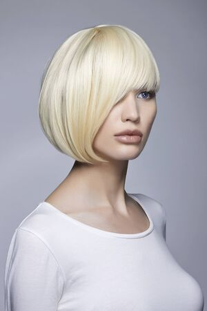 fashion beauty portrait of young woman with stylish bob haircut. beautiful blond girl Stock Photo - 144898978