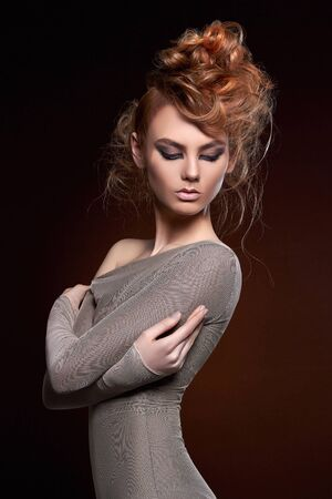 sensual beautiful girl with make-up and Hair style. Beautiful young woman