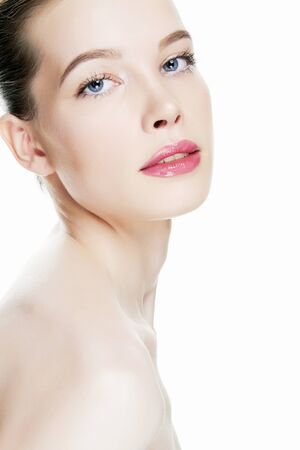 beauty portrait of young woman with clean skin and nude make-up. beautiful model girl Stock Photo - 149831437