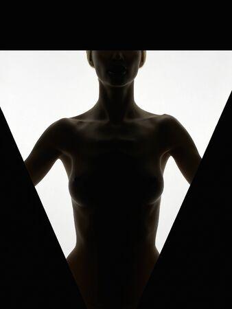 beauty beautiful naked woman body silhouette. beautiful nude girl body part Stock Photo - 150016269