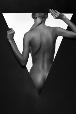 beautiful naked woman body silhouette. black and white beautiful nude girl body Back