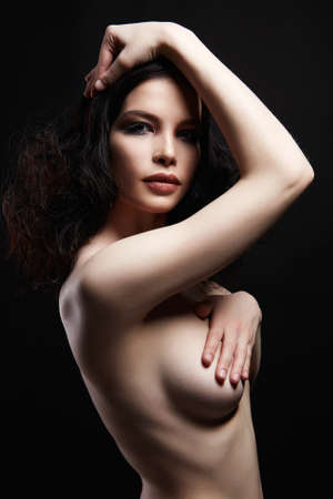 Beautiful Nude girl with make-up. Naked beauty sensual young woman