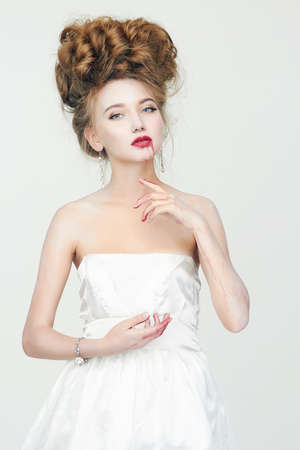 Beautiful young vimpire woman. bloody bride girl. Halloween Make-up. Beauty girl in Wedding Dress, jam and flour Stockfoto - 152750676