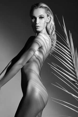fashion black and white portrait of nude beautiful sexy woman with palm. summer blonde naked girl Stock Photo