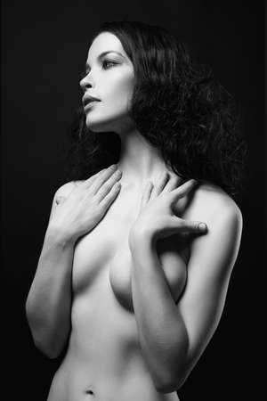 Beautiful Nude girl portrait. Naked beauty sensual young woman