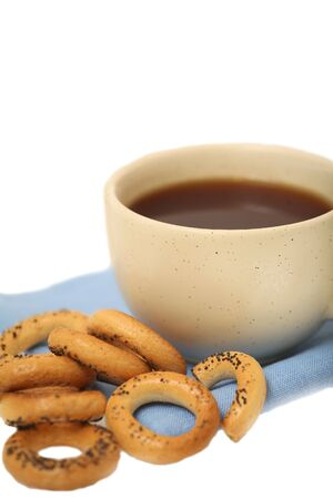 bublik: A cup of tea with russian dried bake rings Stock Photo