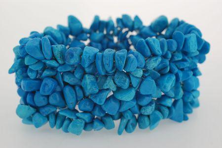 chunky: closeup of elastic blue agate bracelet Stock Photo