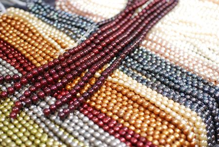 freshwater pearl: multiple layers of colorful freshwater pearl strands