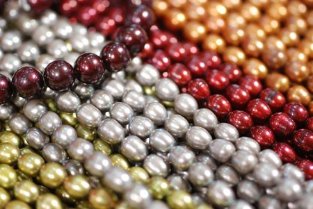 freshwater pearl: colorful freshwater pearl strands Stock Photo