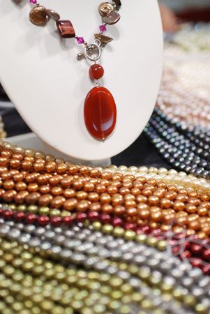 freshwater pearl: agate necklace and colorful freshwater pearl strands Stock Photo