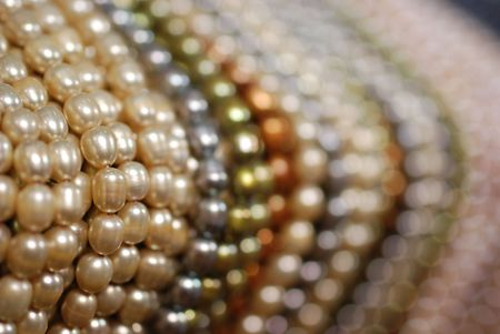 freshwater pearl: closeup of colorful freshwater pearl strands Stock Photo