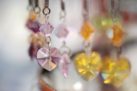 closeup of colorful crystal earrings Stock Photo - 2158467