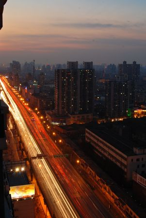 night view of highway in Shanghai02 photo