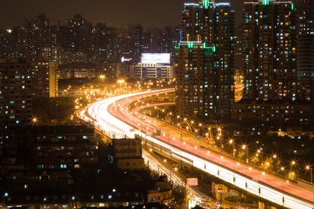 night scene of highway in Shanghai01 photo