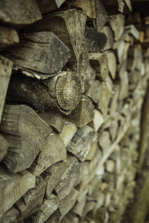 Pile of wood prepared for fuel, stacked and ready for winter, background texture. photo