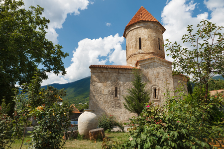 albanian: Old Albanian church temple in Kish province of Azerbaijan Stock Photo