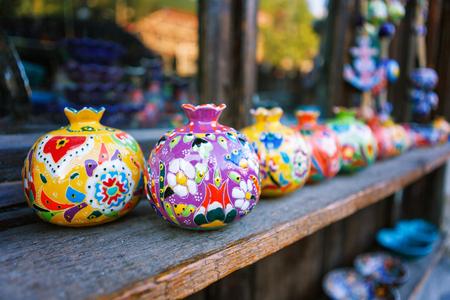 clayware souvenirs sold on a local market in the old town of Sheki, Azerbaijan on Karavan Saray street