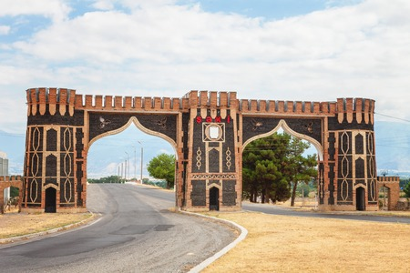 azeri: arch entrance gate of Sheki, Azebaijan Stock Photo