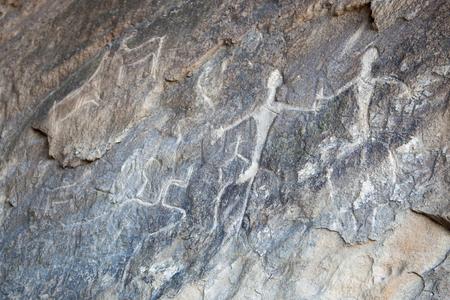 baku: Prehistorical petroglyphs in Qobustan, Azerbaijan. Stock Photo