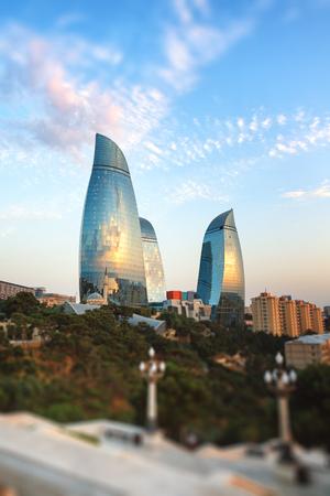 baku: panorama Baku city in he morning, Azerbaijan