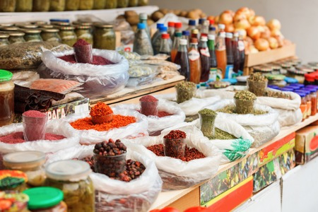 sugarcoat: Sweets and dried fruits in the market in Azerbaijan, Baku Stock Photo