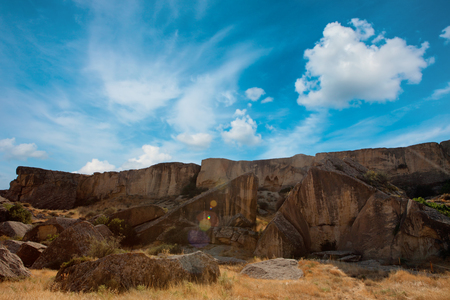 national historic site: Qobustan national park antient rocks and mountains in Azerbaijan near Baku