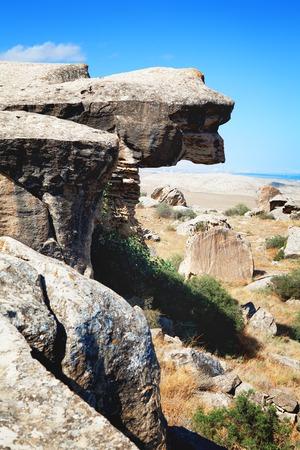 phallic: Qobustan national park antient rocks and mountains in Azerbaijan near Baku
