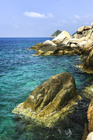 koh tao: rocks and sea of the Island in southern Thailand, Koh Tao, Chumphon. Stock Photo