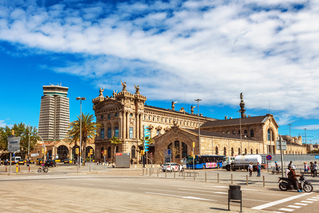 galley: Barcelona, Spain - April 17, 2016: Royal Shipyard is a shipyard and former military building of Gothic architecture placed at the Port Vell area of the Port of Barcelona, Museu Maritim Editorial
