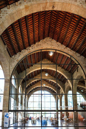 galley: Barcelona, Spain - April 17, 2016: Royal Shipyard is a shipyard and former military building of Gothic architecture placed at the Port Vell area of the Port of Barcelona, Museu Maritim, interior Editorial