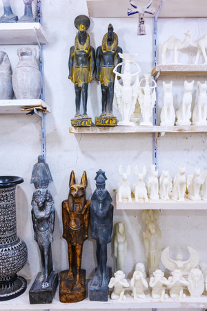 Alabaster Vase And Statuette In Egyptian Souvenir Shop White Stock