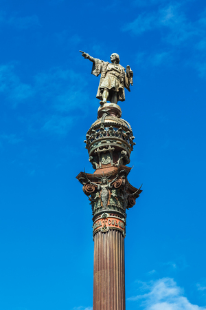 Barcelona, Spain - April 17, 2016: Statue of Christopher Columbus pointing America, close-up view on the monument