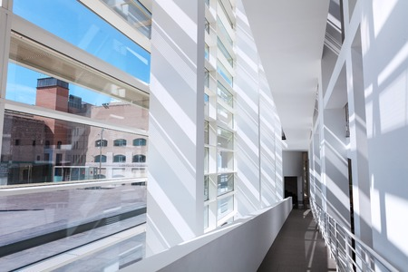 build in: Barcelona, Spain - April 18, 2016: interior of MACBA Museo De Arte Contemporaneo, Museum of Contemporary Art build in 1995 by American architect Richard Meier