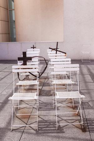 build in: Barcelona, Spain - April 18, 2016: interior exibition in MACBA Museo De Arte Contemporaneo, Museum of Contemporary Art build in 1995 by architect Richard Meier Editorial