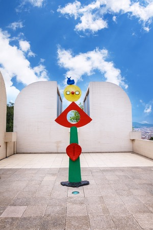 Barcelona, SPAIN - April 22, 2016: Fundacio Joan Miro - 1975, is a museum of modern art with the works by Joan Miro, located on the hill called Montjuic in Barcelona, Spain. Architect: Josep Lluis Sert. sculpture Editöryel