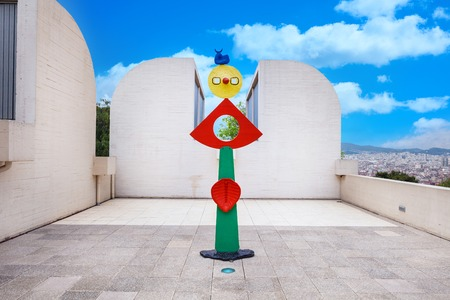 Barcelona, SPAIN - April 22, 2016: Fundacio Joan Miro - 1975, is a museum of modern art with the works by Joan Miro, located on the hill called Montjuic in Barcelona, Spain. Architect: Josep Lluis Sert. sculpture 新聞圖片