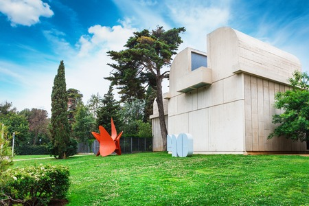 Barcelona, SPAIN - April 22, 2016: Fundacio Joan Miro - 1975, is a museum of modern art with the works by Joan Miro, located on the hill called Montjuic in Barcelona, Spain. Architect: Josep Lluis Sert. Front view Editöryel
